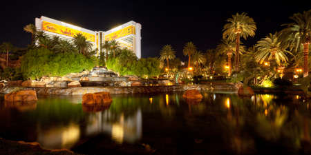 mirage: Las Vegas, USA - September 21, 2011: Pond near The Mirage in Las Vegas. Located on the Las Vegas Strip, The Mirage was opened in November 1989. GPS information is in the file. Editorial