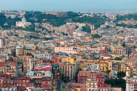 napoli: Wonderful view on Naples in the evening