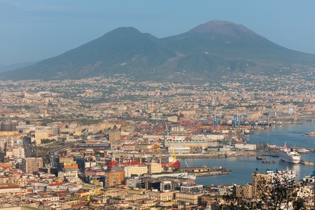 seaports: Naples, Italy - September 28, 2012: The Port of Naples being one of the largest seaports in the Mediterranean Sea basin has an annual traffic capacity of around 25 million tons of cargo. GPS information is in the file.
