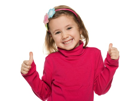 little finger: A portrait of a cheerful little girl in red with her thumbs up; isolated on the white background Stock Photo