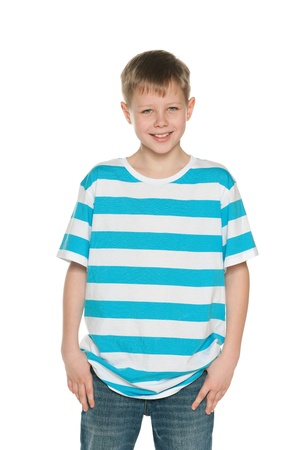 blue jeans kids: A portrait of a handsome boy in striped shirt on the white background Stock Photo
