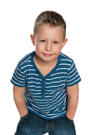 naughty boy: A portrait of a naughty boy; isolated on the white background
