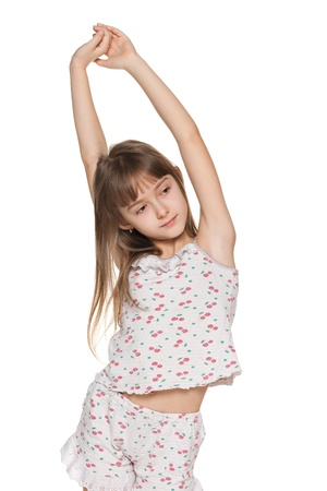 portrait young girl studio: A young girl stretches himself in the morning; on the white background