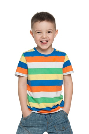mischievous: A portrait of a happy preschool boy; isolated on the white background