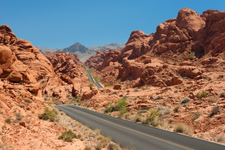 Scenic view on the road in the Valley of Fire, Nevada, USA photo