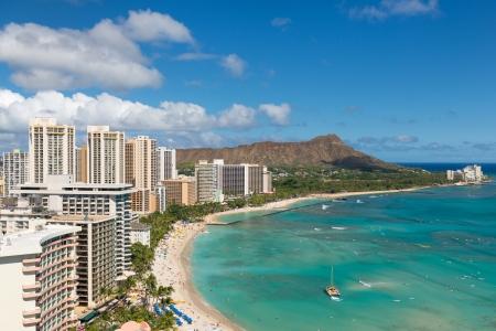 Toneel mening van Honolulu stad en Waikiki Beach, Hawaii, Verenigde Staten