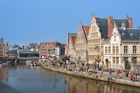 Graslei in Ghent attract citizens and guests to enjoy the rest on the pier