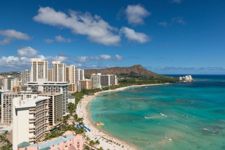 Scenic view of Honolulu city, Diamond Head and Waikiki Beach in summer day; Hawaii, USA Stock Photo