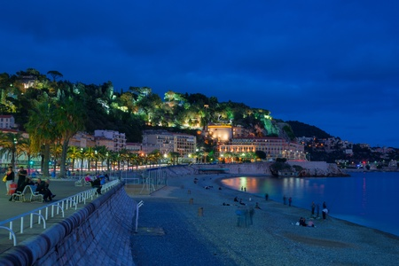 mediterranean sea: Nice city and Mediterranean Sea at night Stock Photo