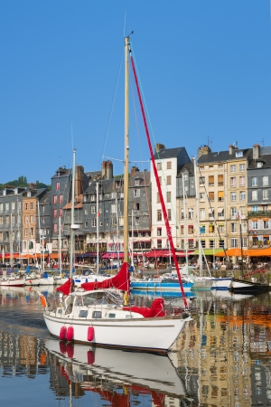 french cafe: The white yacht in the Honfleur harbour