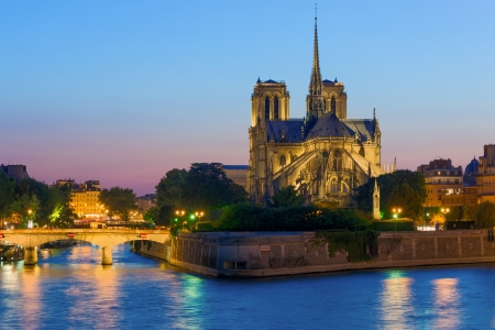 Notre Dame de Paris at a summer night photo