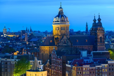 st nicholas cathedral: Basilica of St  Nicholas in the center of Amsterdam at night Stock Photo