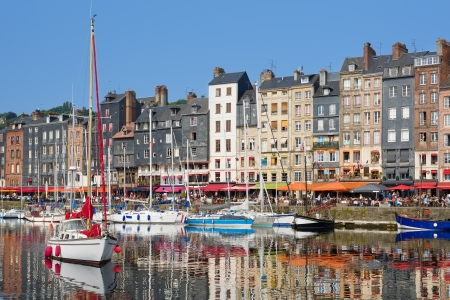 Beautiful yachts at the Honfleur harbour photo