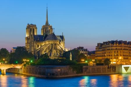 Notre Dame de Paris at the summer night photo