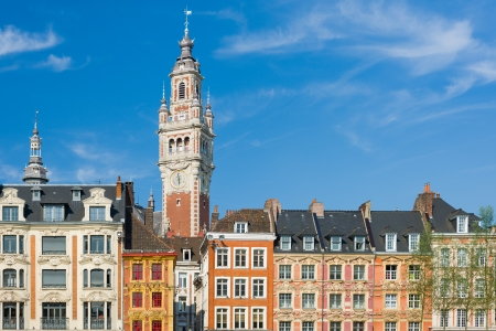 commodities: View on chamber of commerce in Lille under the blue sky
