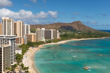 Scenic view of Diamond Head and Waikiki Beach in summer day
