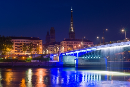 Sityscape of Rouen at a summer night Stock Photo - 22943215
