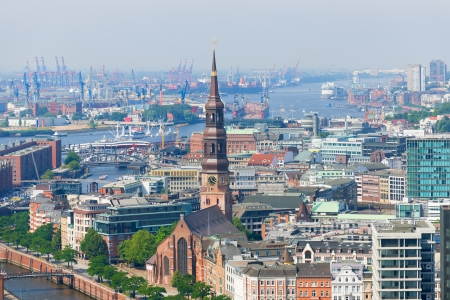 Aerial view of Hamburg port in a summer day photo