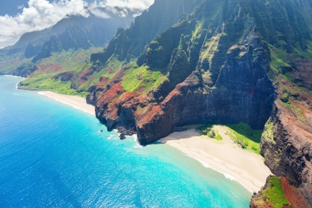 View on Na Pali Coast on Kauai island on Hawaii in a sunny day