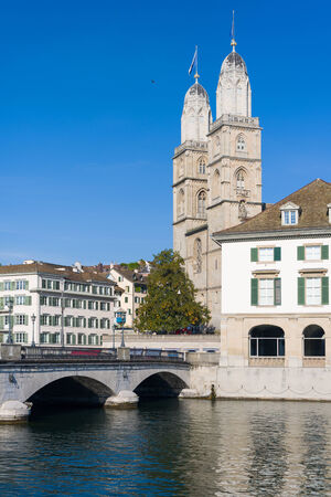 grossmunster cathedral: View on Grossmuenster in Zurich in a summer day