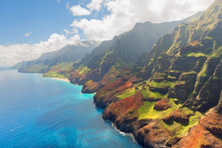 View on Na Pali Coast on Kauai island on Hawaii in a sunny summer day