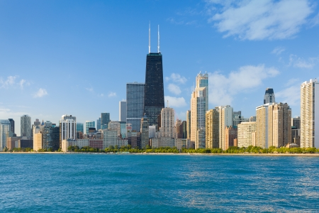 windy day: Cityscape of Chicago in a summer day