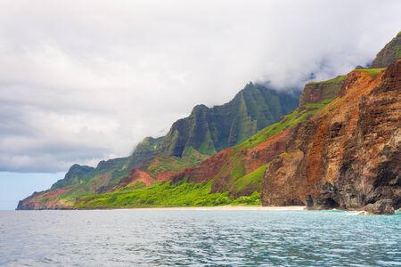 na: View on Na Pali Coast on Kauai island on Hawaii in a cloudy day in summer