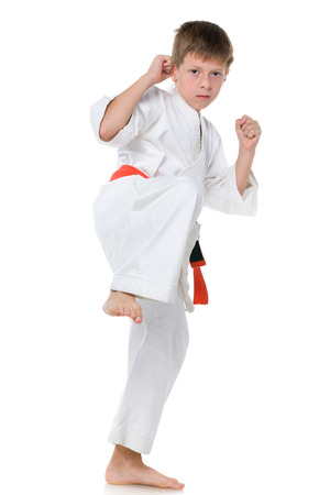 karate boy: A portrait of a confident boy in kimono in fighting stance