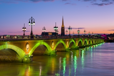 Cityscape of Bordeaux at a summer night photo