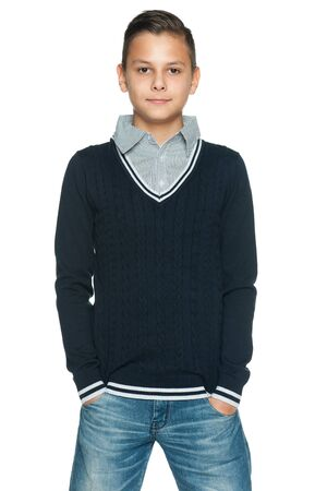only one boy: A portrait of a preteen boy on the white background Stock Photo
