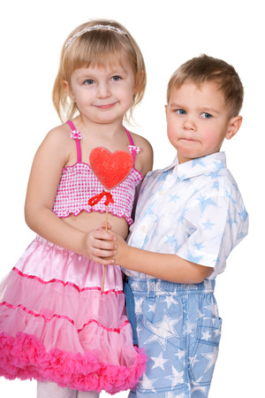 Two children are preparing to celebrate Valentine photo