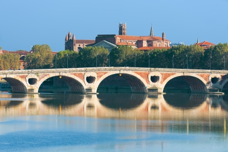 The Pont Neuf in Toulouse in a sunny summer day