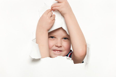 keek: A closeup portrait of a curious little boy Stock Photo