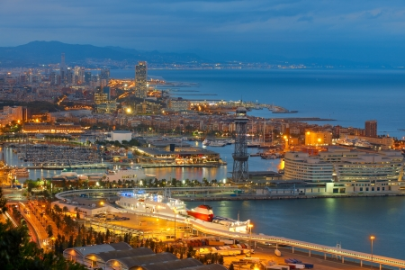 View on Barcelona and port at night photo