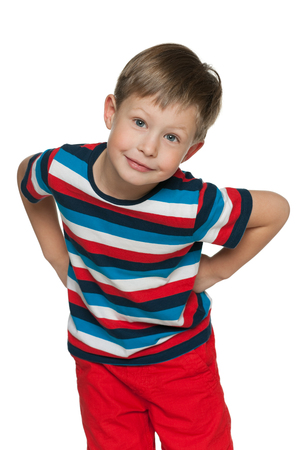 naughty boy: A portrait of a naughty little boy on the white background