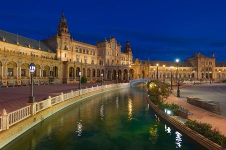 espana: Plaza de Espana in Seville at black night
