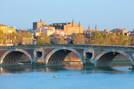 The Pont Neuf in Toulouse in a sunny sammer day