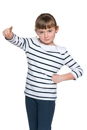 little finger: A little girl shows her finger forward
