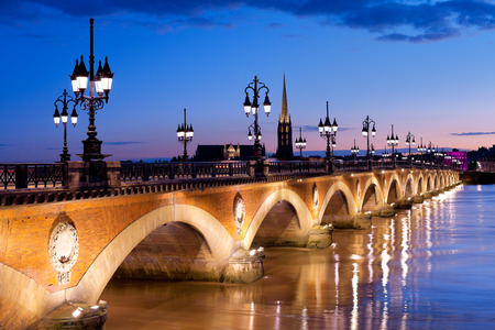 Night view on The Pont de pierre in Bordeaux