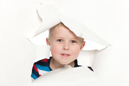 keek: A portrait of a curious cute little boy Stock Photo