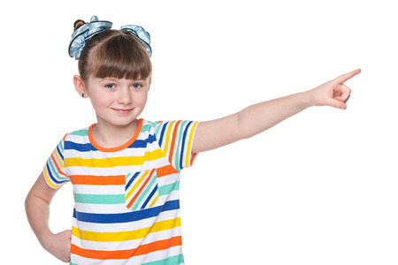 little finger: A lovely young girl shows her finger to the side