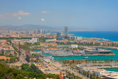 View on Barcelona in a sunny summer day photo