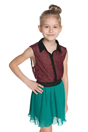 A fashion little girl against the white background photo