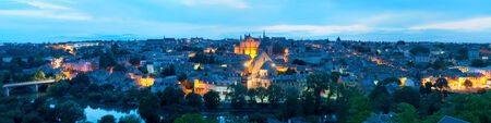 Panoramic view of Poitiers at a summer night photo