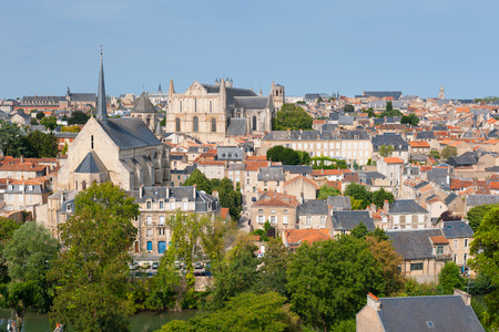 Cityscape of Poitiers at a summer day