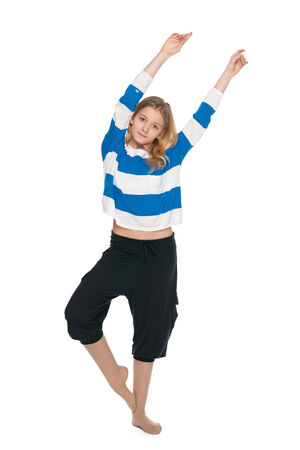 girl fitness: A pretty young girl does fitness exercises on the white background Stock Photo