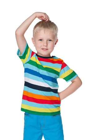 difficult task: A very thoughtful little boy in a striped shirt against the white background