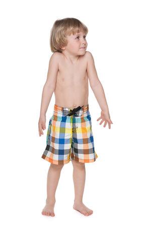 hesitation: A portrait of a preschool boy getting ready for swimming Stock Photo