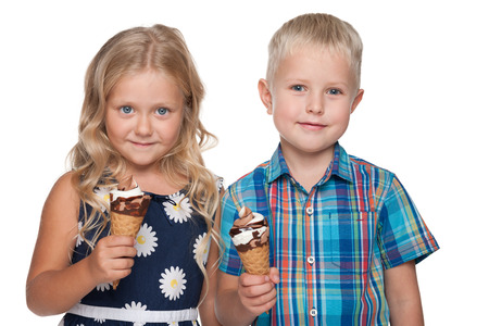 child ice cream: A portrait of children with ice cream on the white background