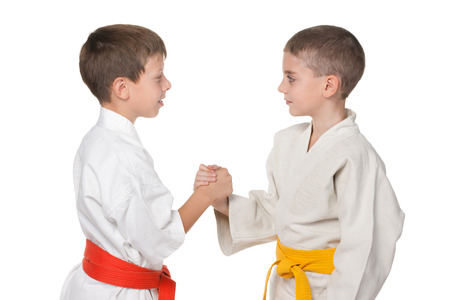 jiu jitsu: A portrait of handshaking boys in kimono against the white background